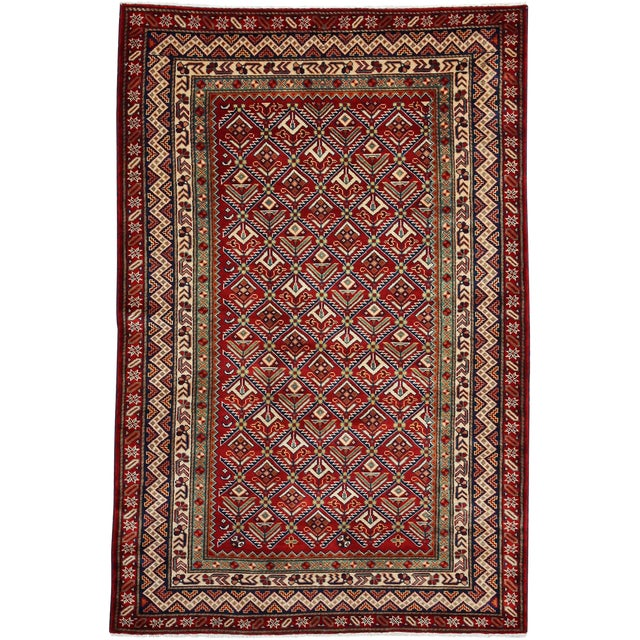 """New Traditional Hand Knotted Area Rug - 4'1"""" x 6'4"""" - Image 1 of 3"""
