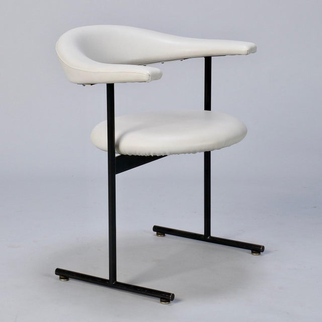 Mid-Century Streamlined Arm Chairs with Black Metal Frames- Set of 6 For Sale In Detroit - Image 6 of 9