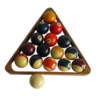 Vintage Billiards Pool Balls With Wooden Rack