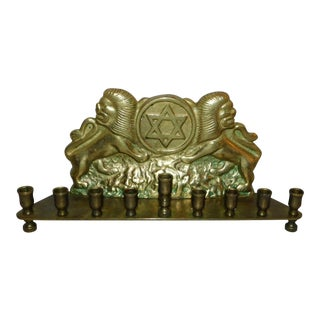 Antique Brass Tribe of Judah Menorah For Sale