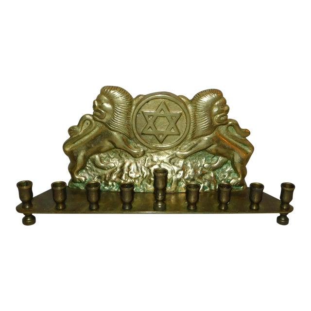Antique Brass Tribe of Judah Menorah For Sale