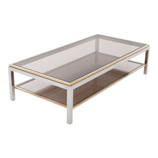 Willy Rizzo Rectangular Coffee Table in Brass, Chrome and Glass For Sale