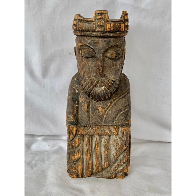Vintage Hand Carved Wooden King Sculpture For Sale - Image 11 of 11