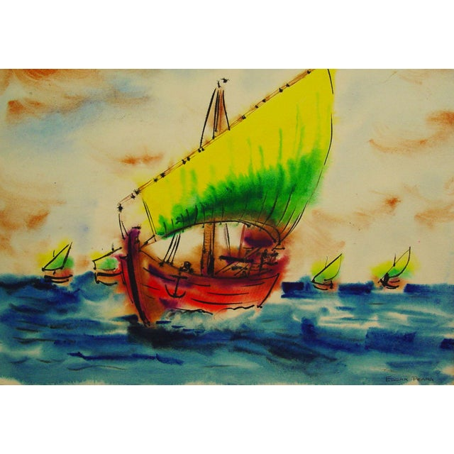 Bright Sailing Ships Watercolor by Edgar Peara - Image 1 of 2