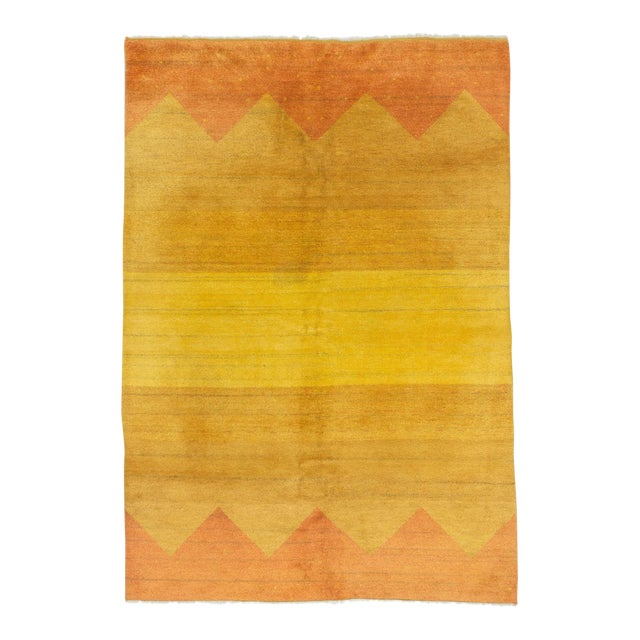 Decorative Yellow Safraan Turkish Gabbeh Rug - 5′6″ × 8′1″ - Image 1 of 6