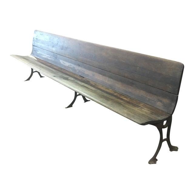 19th Century Antique Wood Folding School Bench - Image 1 of 9