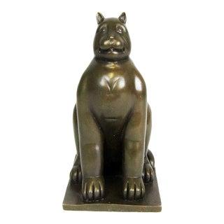 1990s Contemporary Cat Bronze Sculpture For Sale