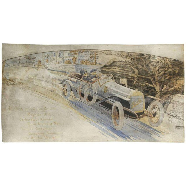 Gamy French Automobile Lithograph, Hand-Colored Majola Auto Circa 1913 For Sale - Image 11 of 11