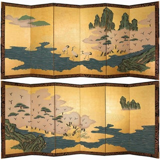 Rare XL Shōwa Japanese Gold Leaf and Maki-E Screens - a Pair For Sale
