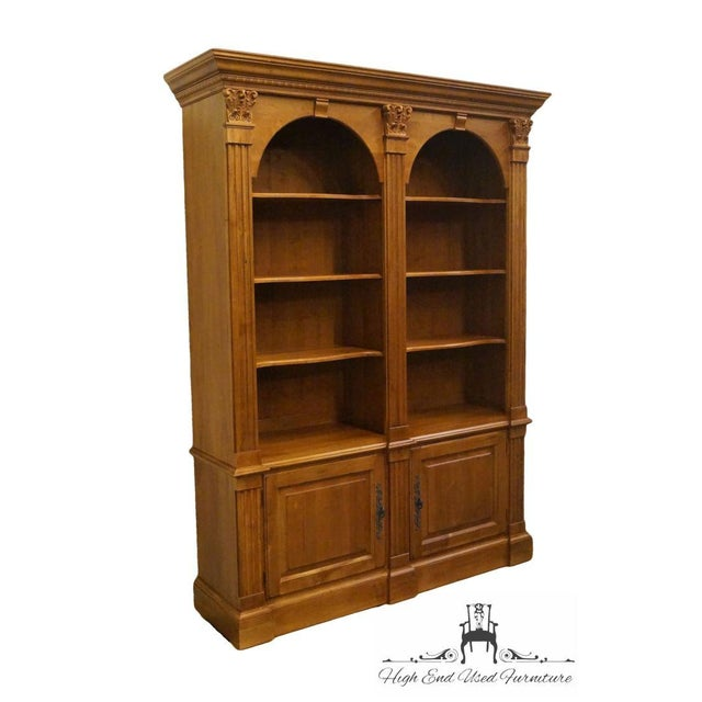 Ethan Allen Legacy Collection Double Arch Library Bookcase Cabinet