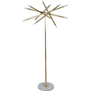"Blueprint Lighting Model 125 ""Nest"" Sculptural Brass & Marble Floor Lamp"
