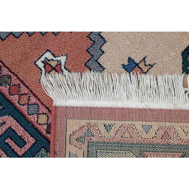 Blue Aztec Style Rug - 5′6″ × 7′10″ For Sale - Image 8 of 9