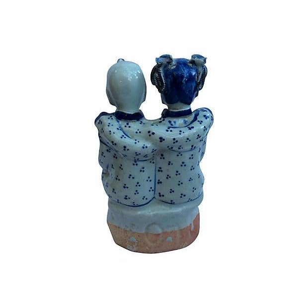 Chinese Blue & White Best Friends Figurine - Image 5 of 5