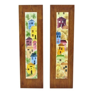 Vintage Mid Century Danish Modern Wall Art Panel- a Pair For Sale