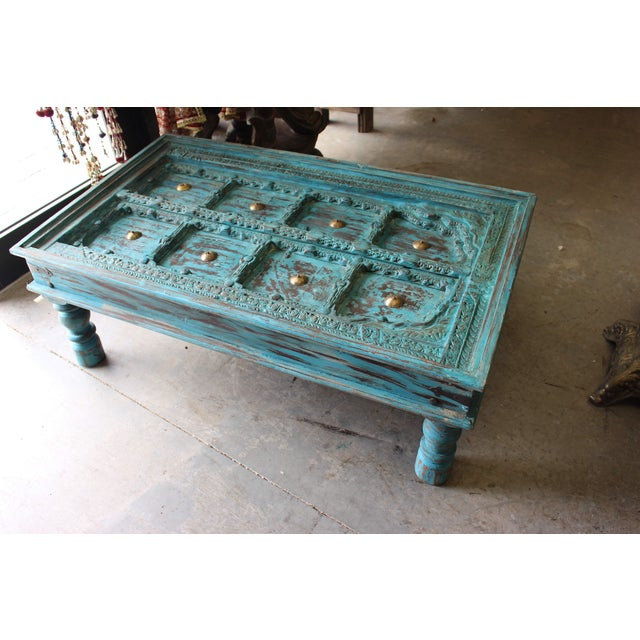Antique Teal Blue Brass Medallion Table with Old door carved top wood, vintage brass hardware. This beautiful antique...