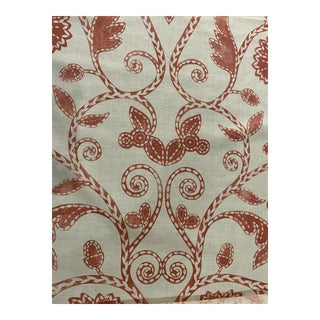 """Nina Campbell's """"Kylemore"""" Coral Large Scale Floral & Vine Fabric - 3 Yards For Sale"""