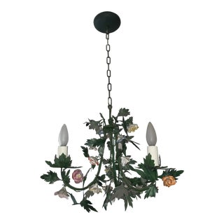 Colored Flowers Poly Chrome Light Fixture For Sale