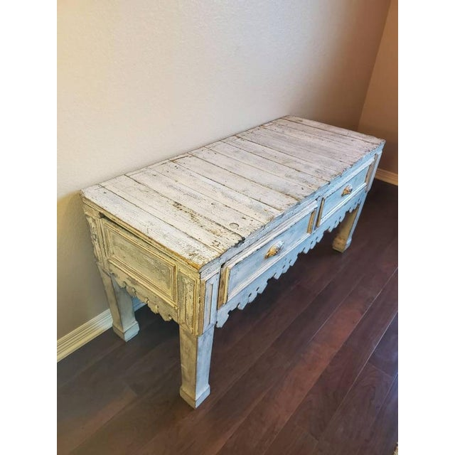 Farmhouse Antique Distressed Painted Plank Top Console Table For Sale - Image 3 of 11