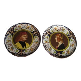 Antique Deruta Renaissance Revival Presentation Plates - A Pair For Sale
