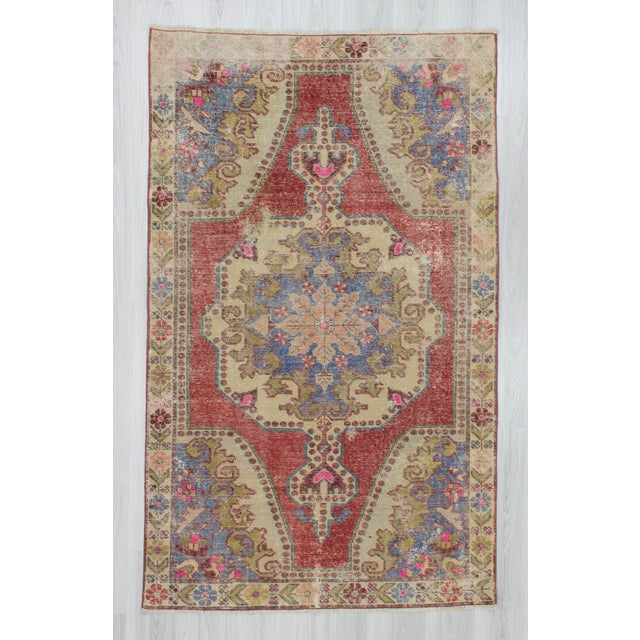 Vintage decorative area rug from Konya region of Turkey. In good condition. Approximately 50-60 years old.