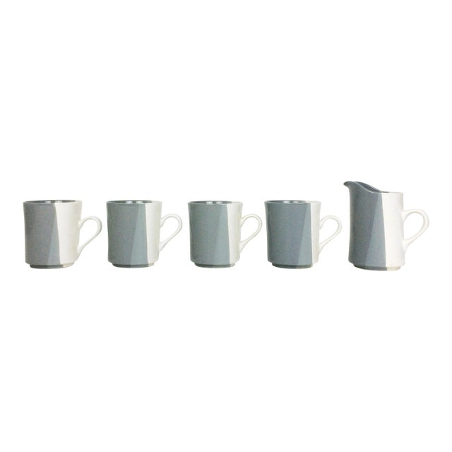Modern Gray and White Mugs and Pitcher Set With Asymmetrical Line Pattern - 5 Piece Set For Sale