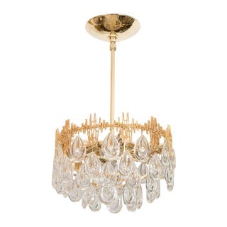 1960s Mid-Century Modern Three Tier Brass and Crystal Drop Lens Chandelier