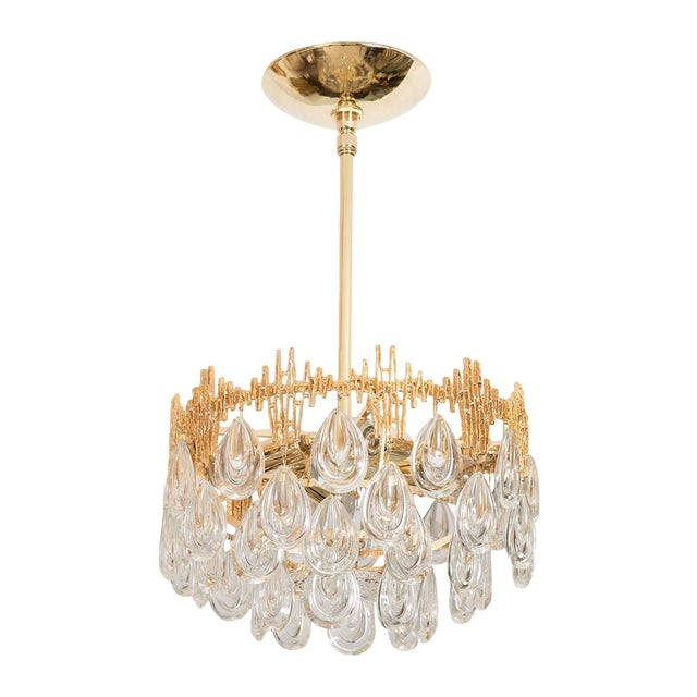 1960s Mid-Century Modern Three Tier Brass and Crystal Drop Lens Chandelier For Sale