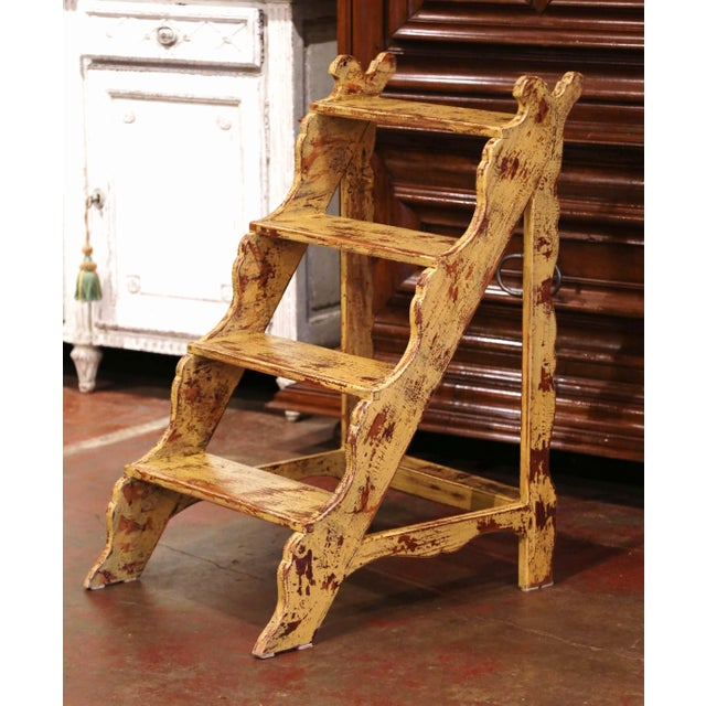 Mid-Century French Country Carved and Painted Pine Library Step Ladder For Sale - Image 13 of 13