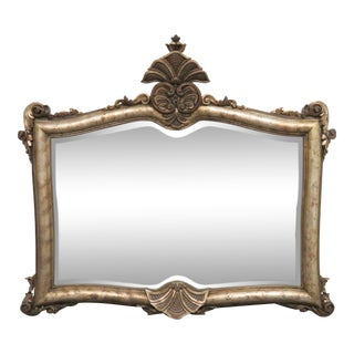 LaBarge Italian Carved Silver Gilt Mirror For Sale