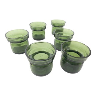 Jens Quistgaard DenmarkDansk Designs Green Glass Candle Holders - Set of 6 For Sale
