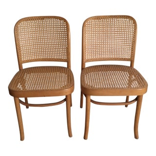 Mid-Century Modern Josef Hoffman Bentwood Caned Prague Dining Side Chairs - a Pair