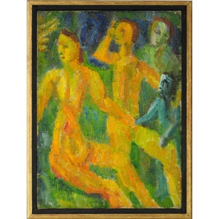 Jennings Tofel Petite Expressionist Figures Oil Painting, 1942 For Sale