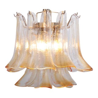 Pair of Vintage 1960s Murano Glass Chandeliers in Amber For Sale