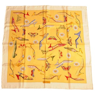 Salvatore Ferragamo Silk Scarf Iconic Shoe Design With Butterflies and Flowers Never Used For Sale