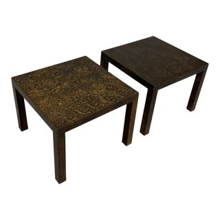 Tortoise Shell Parsons Side Tables - a Pair For Sale