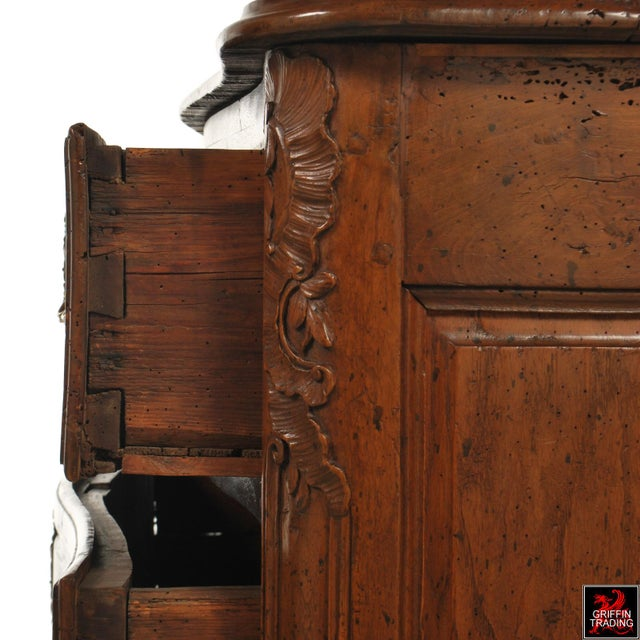 Walnut Large 18th Century Louis XV Period Walnut Commode or Chest of Drawers For Sale - Image 7 of 13