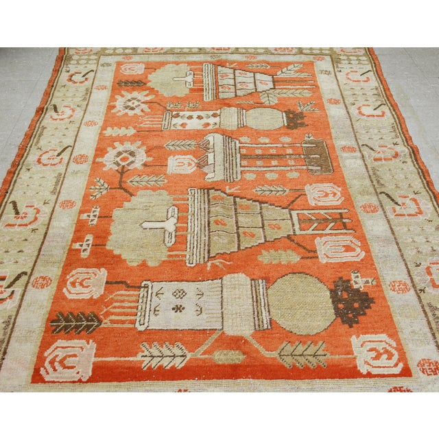 Antique khotan handmade rug with unique pattern,natural colors and soft texture.