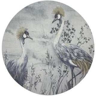 "Nicolette Mayer Crested Crane Silver Gold 16"" Round Pebble Placemat For Sale"