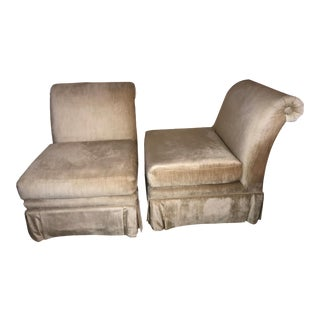 Vintage Henredon Gold & Champagne Slipper Chairs - A Pair