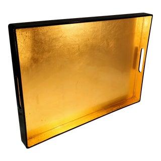 20th Century Contemporary Caspari Gold and Black Lacquer Tray For Sale
