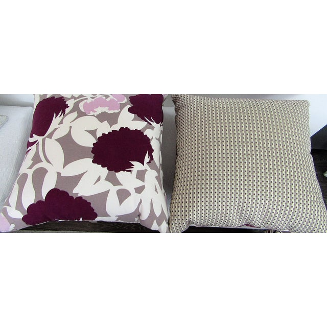 Contemporary Reversible Floral Printed Accent Pillows - A Pair For Sale - Image 3 of 6