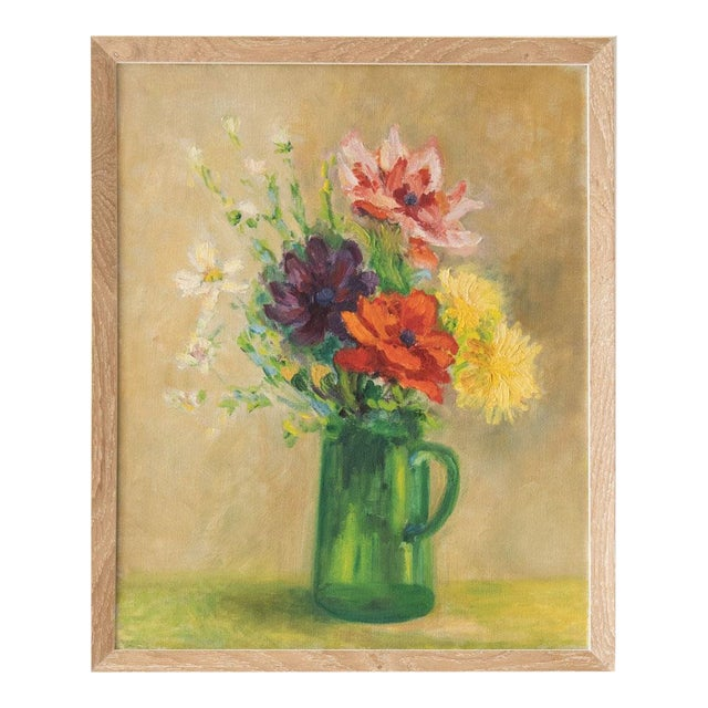 Framed Vintage Floral Oil Painting, M. Schwartz For Sale