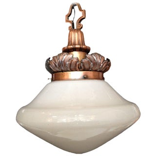 Regency Hanging Copper Pendant With Glass Globe For Sale