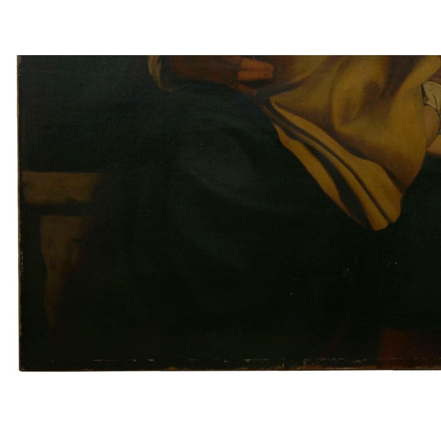 """""""Madonna & Child"""" 19th Century Copyist Oil Painting After Orazio Gentileschi For Sale - Image 10 of 13"""