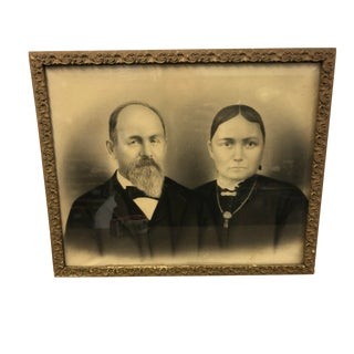 Antique Framed Victorian Black & White Couple Photograph For Sale