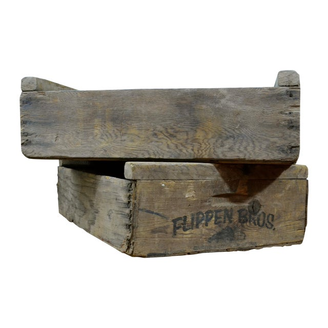 Flippen Bros. Wooden Fruit Crates - A Pair - Image 1 of 7