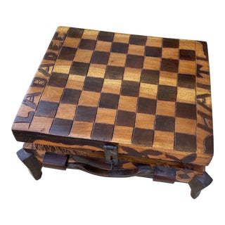 1970s Handcarved Wooden Footed Chess Game Box For Sale