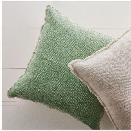 """The green woven fringe square 26"""" Euro pillow. Soft, textured and oversized, this Euro pillow is great for bedding, on a..."""