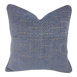"F. Schumacher ""Cosmati"" Chenille Ultramarine Pillow Cover - 20"" X 20"" For Sale"