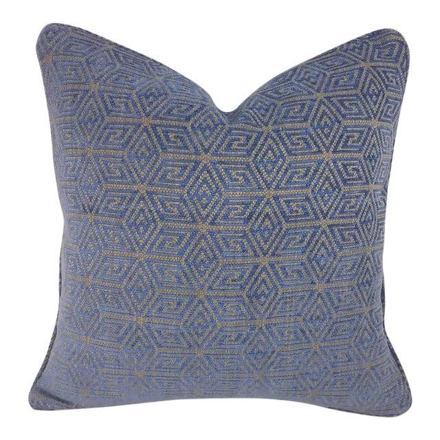 "F. Schumacher ""Cosmati"" Chenille Ultramarine Pillow Cover - 20"" X 20"" For Sale"